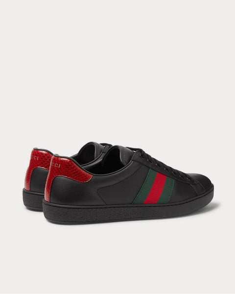 Ace Watersnake-Trimmed Leather  Black low top sneakers