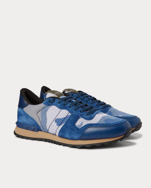 Rockrunner Camouflage-Print Mesh, Leather and Suede  Blue low top sneakers