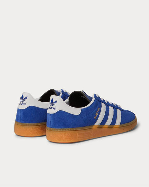 München Leather-Trimmed Brushed-Suede  Blue low top sneakers