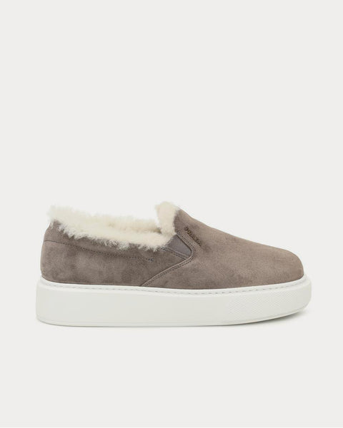 Shearling-lined Brown Slip On Sneakers