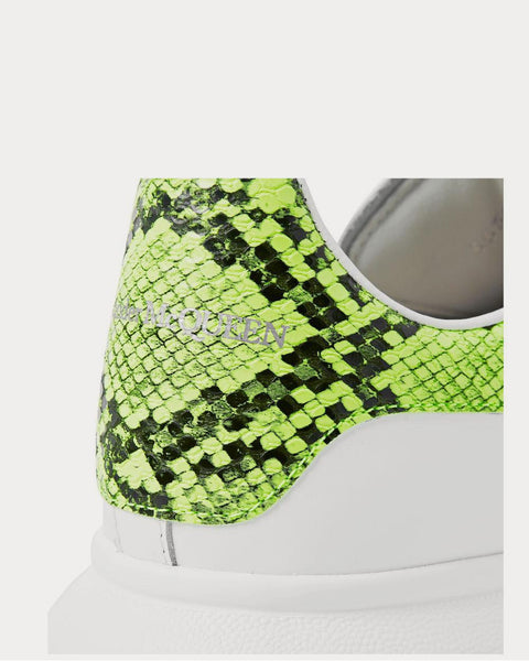 Exaggerated-Sole Neon Snake-Effect Leather  White low top sneakers