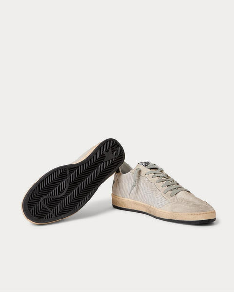 Ball Star Distressed Suede, Mesh and Leather  Silver low top sneakers