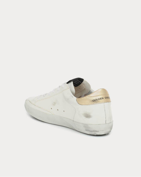 Superstar leather White Leather-Washed Gold Low Top Sneakers