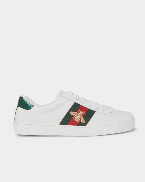Ace Watersnake-Trimmed Embroidered Leather  White low top sneakers