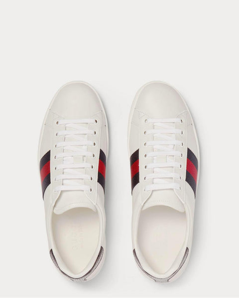 Ace Watersnake-Trimmed Leather  White low top sneakers