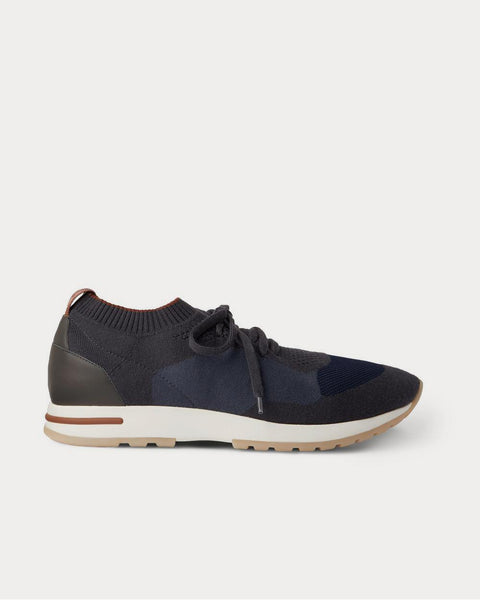 360 Flexy Walk Leather-Trimmed Knitted Wool  Navy low top sneakers