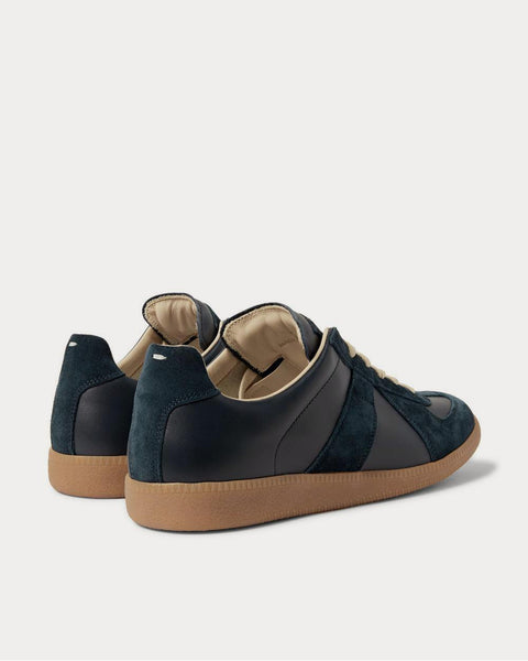 Replica Suede and Leather  Navy low top sneakers