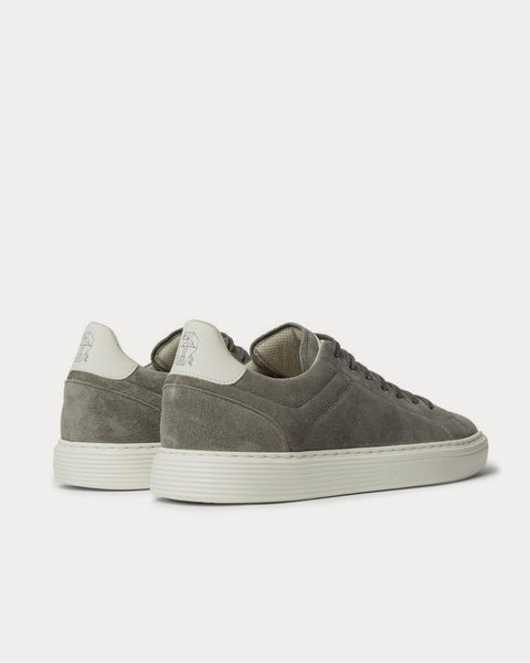 Leather-Trimmed Suede  Gray low top sneakers