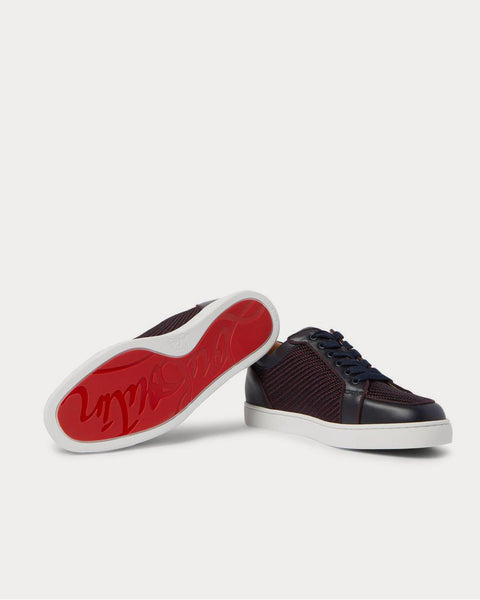 Rantulow Orlato Leather and Raffia  Navy low top sneakers
