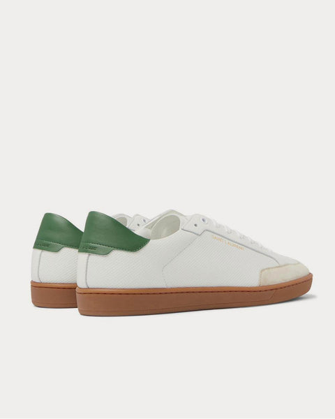 SL/10 Suede-Trimmed Perforated Leather  White low top sneakers