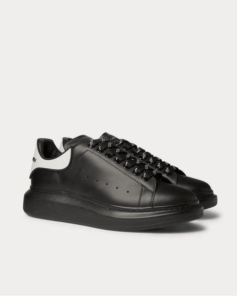 Exaggerated-Sole Rubber-Trimmed Leather  Black low top sneakers