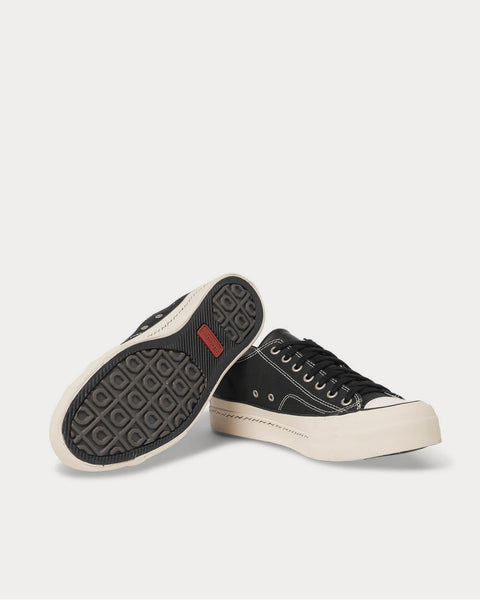 Skagway Leather-Trimmed Canvas  Black low top sneakers