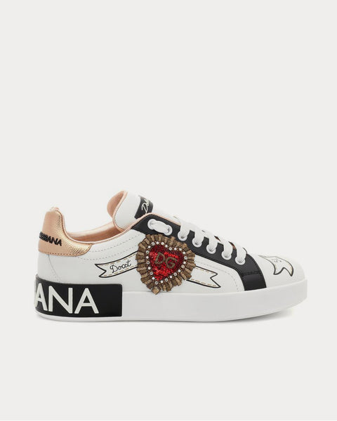 Portofino leather White Sequin Low Top Sneakers