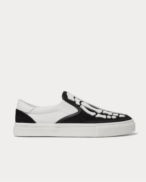 Skel Toe Leather-Appliquéd Canvas and Suede Slip-On Black low top sneakers