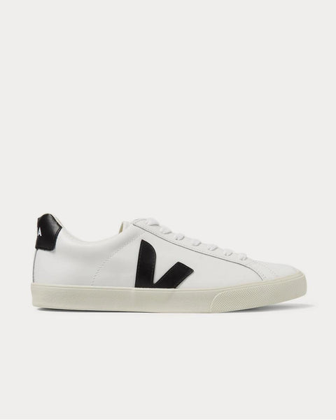 Esplar Rubber-Trimmed Leather  White low top sneakers