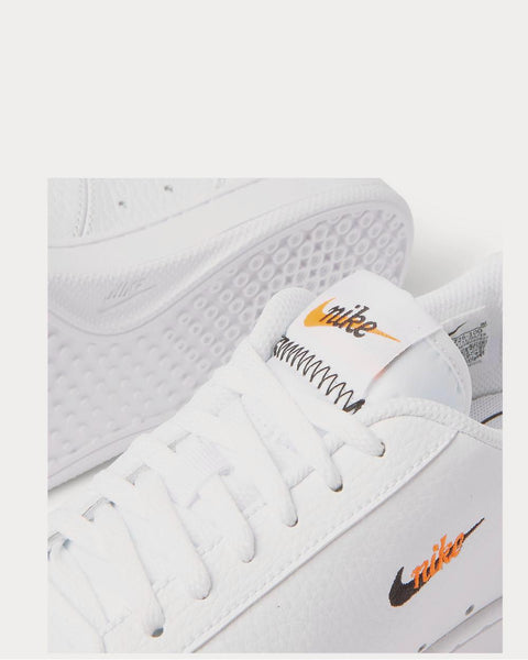 Court Vintage Premium Logo-Embroidered Textured-Leather  White low top sneakers