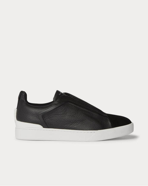 Triple Stitch Full-Grain Leather and Suede Slip-On  Black low top sneakers