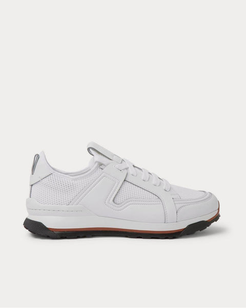 Siracusa Leather and Mesh  White low top sneakers