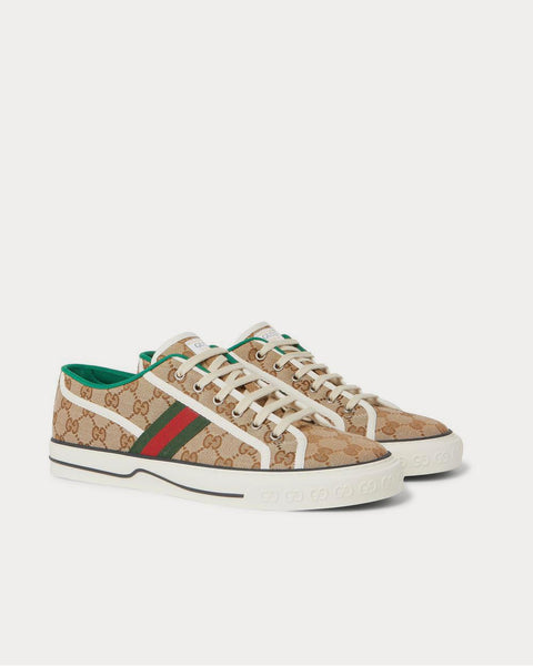 Tennis 1977 Webbing-Trimmed Logo-Jacquard Canvas  Brown low top sneakers