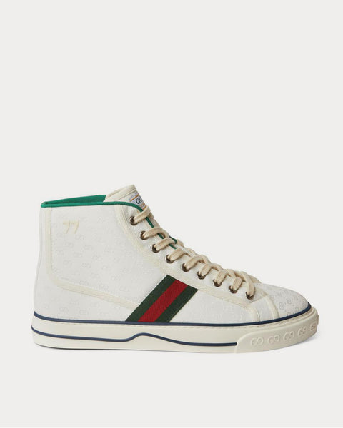 Tennis 1977 Webbing-Trimmed Monogrammed Canvas High-Top  White high top sneakers