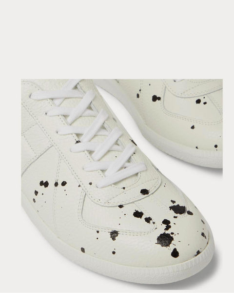 Replica Paint-Splattered Full-Grain Leather  White low top sneakers