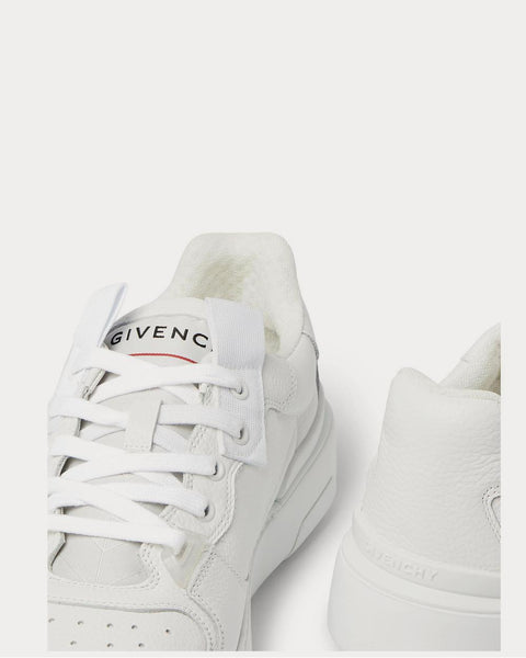 Wing Grosgrain-Trimmed Full-Grain Leather  White low top sneakers