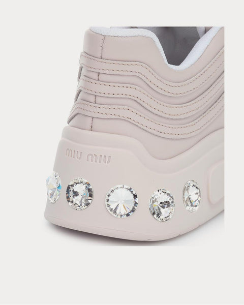 Embellished leather Pink High Top Sneakers