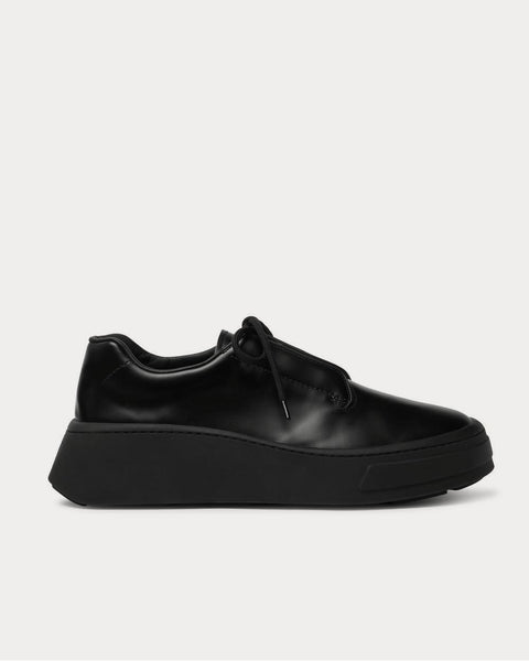 Leather  Black low top sneakers