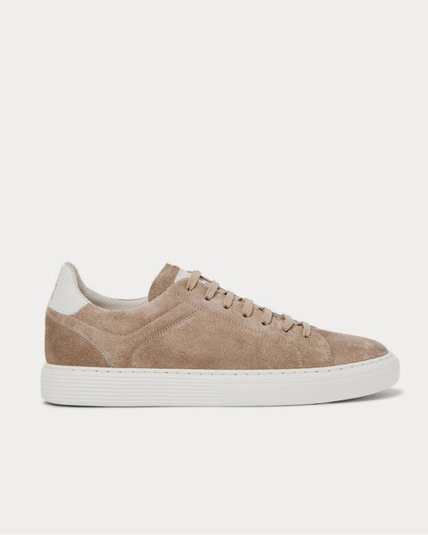 Leather-Trimmed Suede  Beige low top sneakers