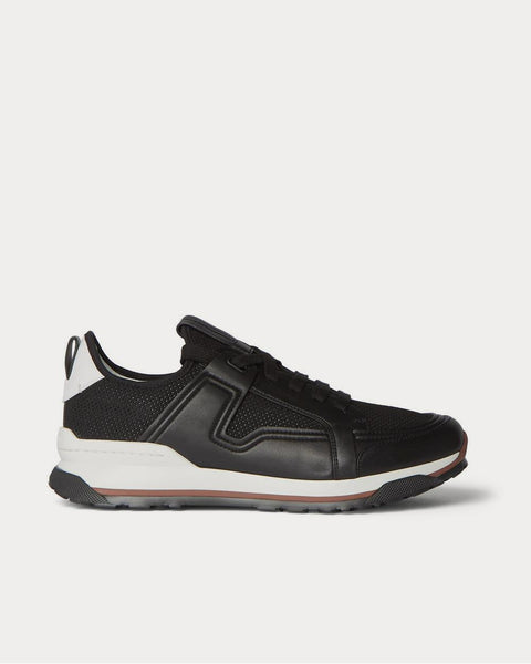 Siracusa Leather and Mesh  Black low top sneakers