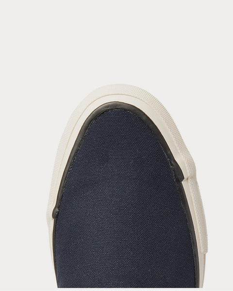 Skagway Leather-Trimmed Canvas Slip-On  Navy low top sneakers
