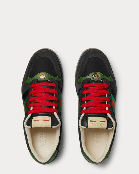 Screener Webbing-Trimmed Leather, Suede and Canvas  Black low top sneakers