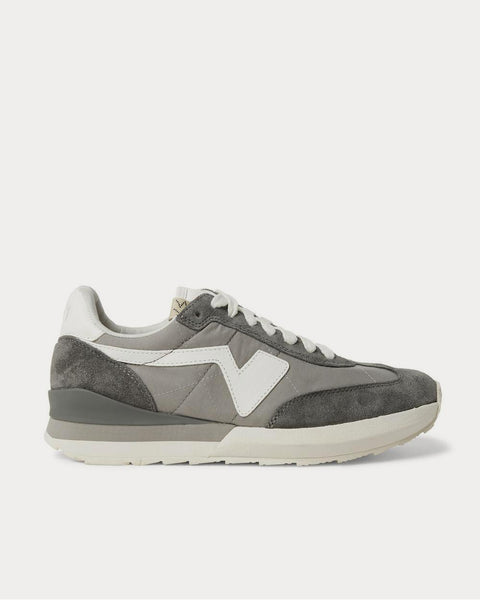 FKT Runner Suede- and Leather-Trimmed Nylon-Blend  Gray low top sneakers