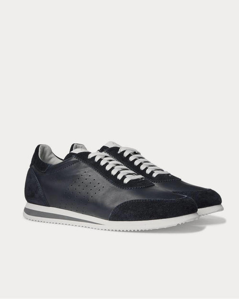 Leather and Suede  Navy low top sneakers