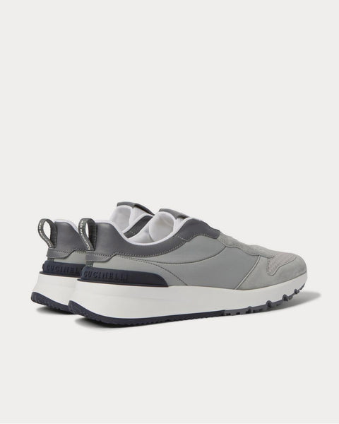 Leather-Trimmed Suede, Neoprene and Mesh  Gray low top sneakers