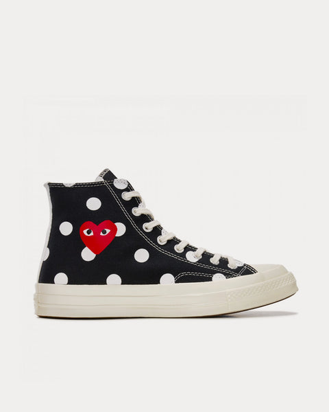 Polka Dot Red Heart Chuck Taylor All Star '70 Black High Top Sneakers