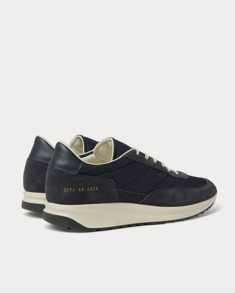 Track Classic Leather-Trimmed Suede and Ripstop  Navy low top sneakers