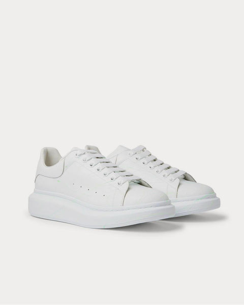 Glow-In-The-Dark Exaggerated-Sole Rubber-Trimmed Leather  White low top sneakers