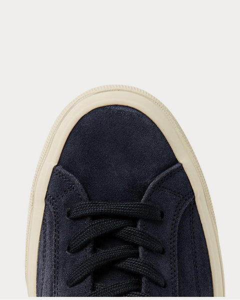 Leather-Trimmed Suede  Navy low top sneakers