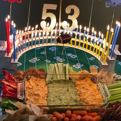 50th birthday idea football theme party with a Celebration Stadium for the fans!