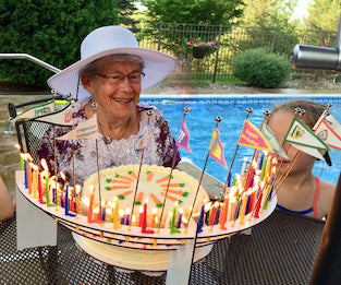 Celebration Stadium 80th birthday party poolside customer photo from Minnesota