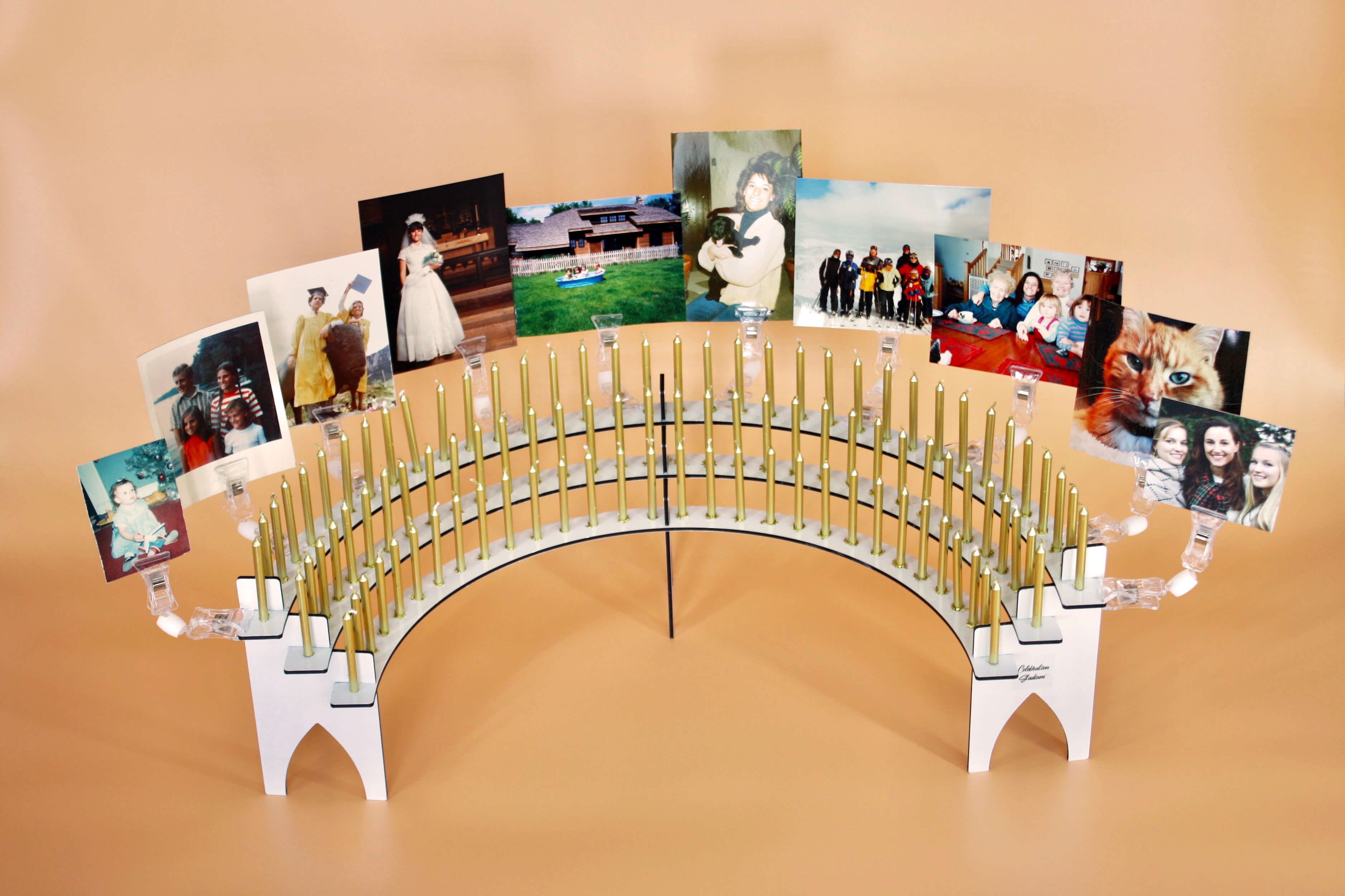 Birthday Party Decorations Using Stadium Clips on the Candle Holder, Featuring Photos Of Birthday Person's Life