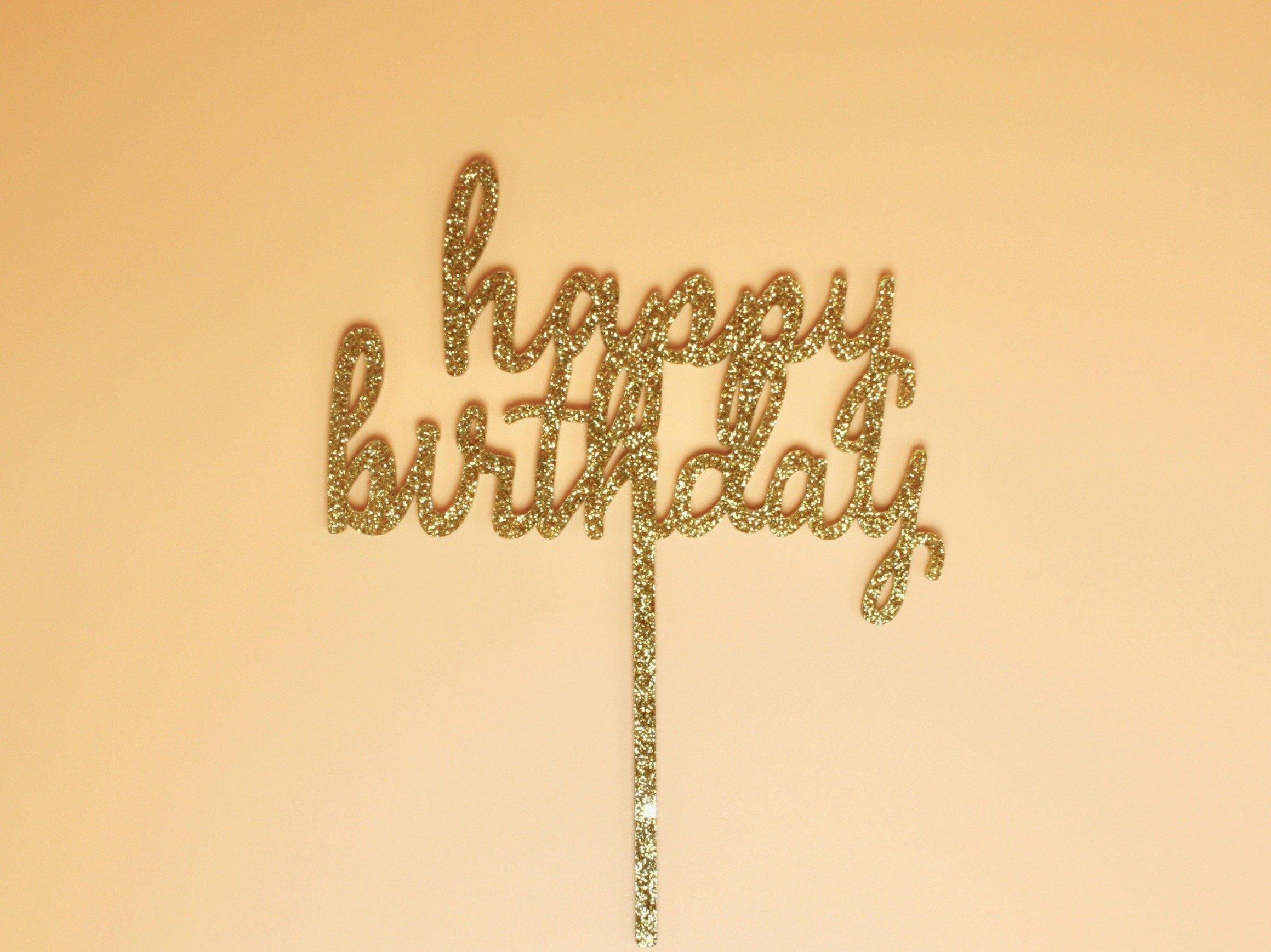 "Stadium Topper ""Happy Birthday"" Gold Glitter"