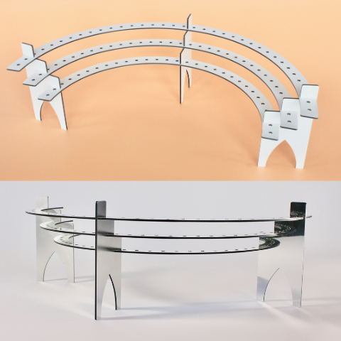 50th Birthday Candle Holders Celebration Stadiums Available in Two Colors:  Silver-Mirror and Fresh-White Polished Aluminum