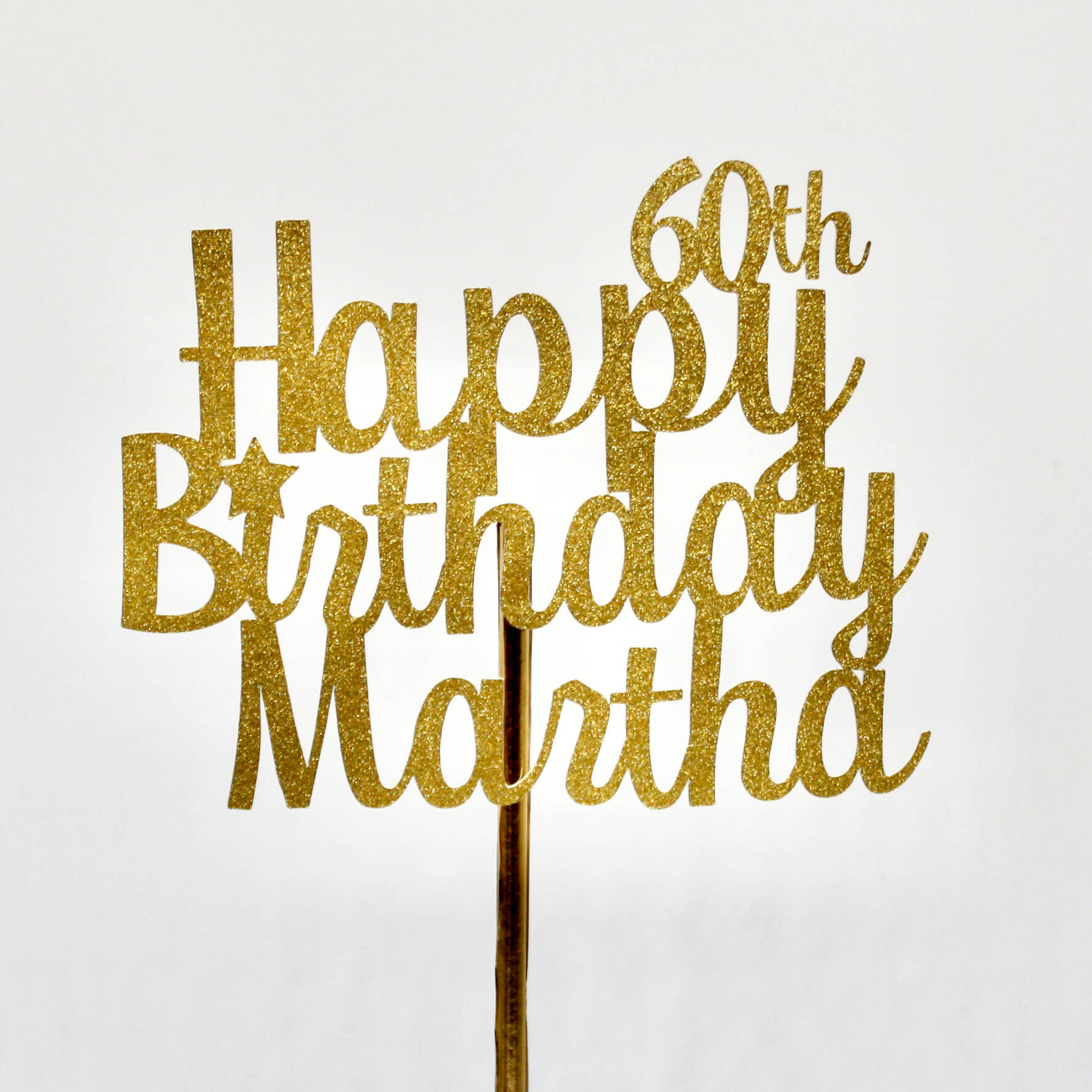 50th Birthday Cake Topper, Customizable Party Decorations, in Gold Glitter Finish