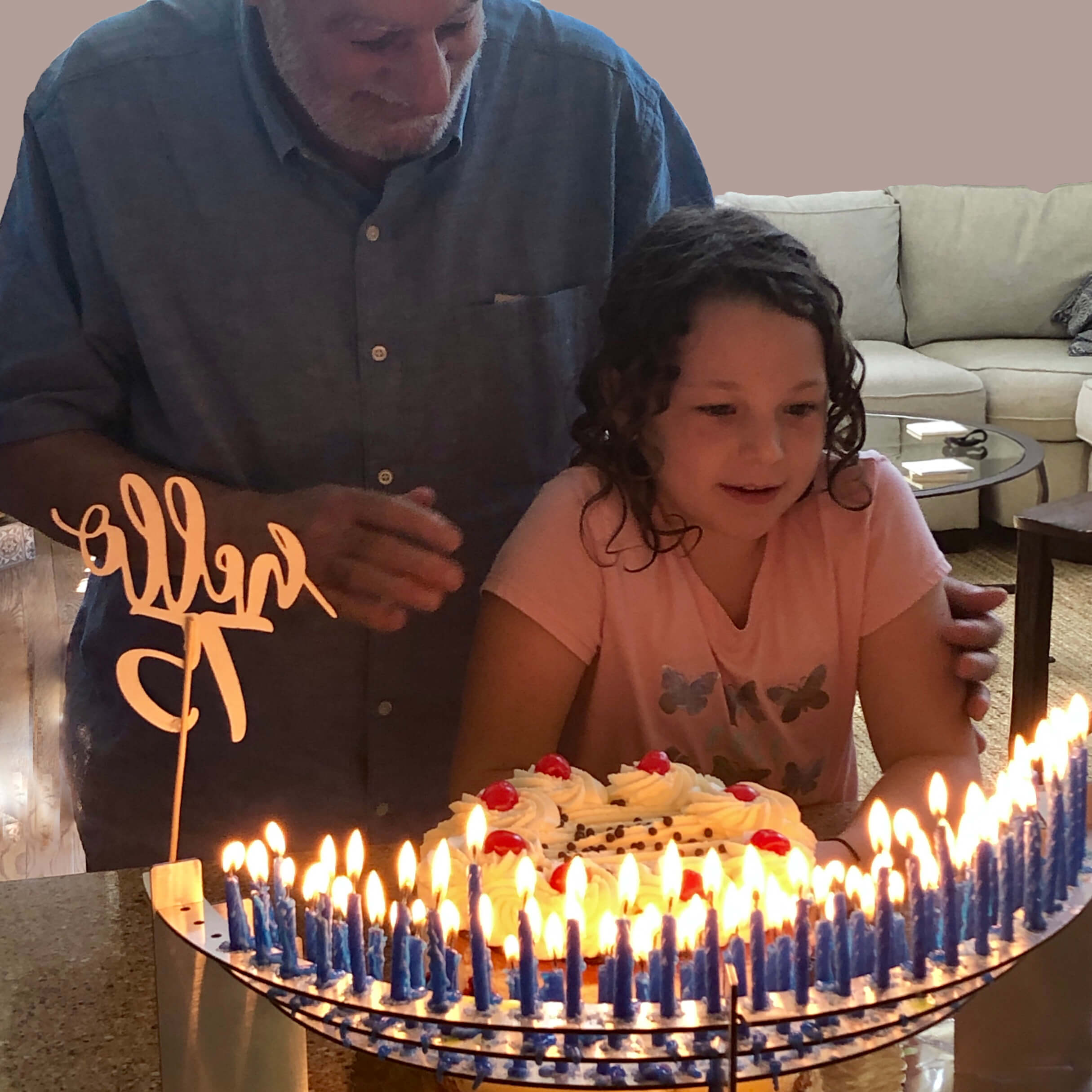 75th Birthday Party Decorations Grandfather & Granddaughter Blowing Out the Candles