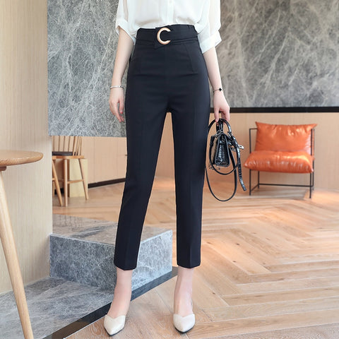 Belted Ankle Office Pants