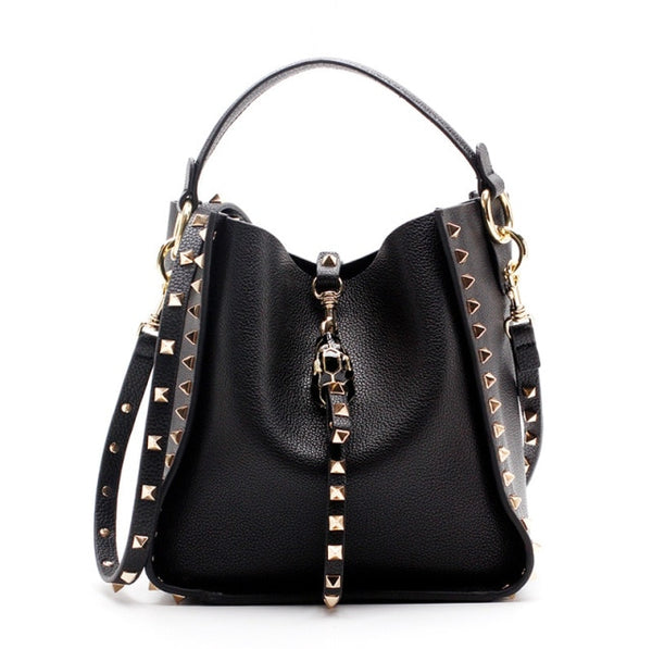 Genuine Leather Stud Bucket Bag