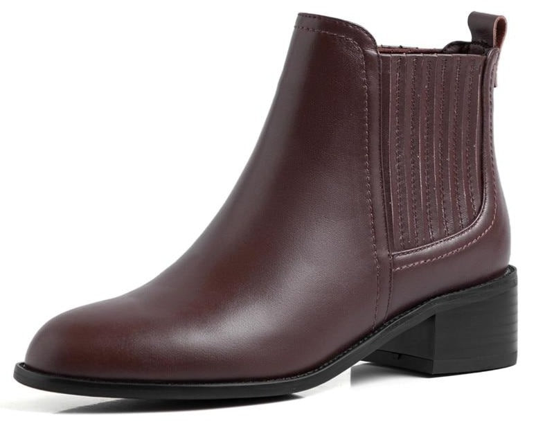 Real Leather Low Heel Boots