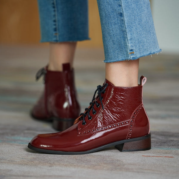 Genuine Leather Low Heel Boots